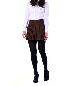 Accordion Pleats Mini Skirt: Brown
