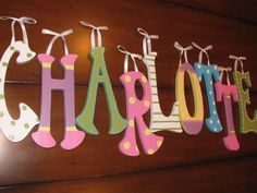 Custom Nursery Wall Letters 9.5 inch or 5 por thesnickerdoodleshop