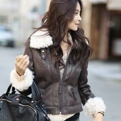 Fleece-Trim Faux-Leather Jacket from #YesStyle <3 WINGSMALL YesStyle.com