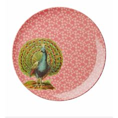Flower & Peacock Melamine Side Plate : Melamine side plate with coral flower and peacock print.