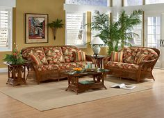 sunroom wicker furniture. Palm Cove Wicker Living Room Set By Tickle Imports: Americanrattan.com.  Furniture CushionsSunroom Sunroom Wicker I