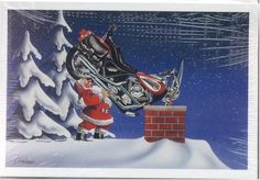 Harley Davidson Christmas Cards, Santa Putting Softail Down Chimney, Pack of 10 with envelopes Christmas Humor, Christmas Fun, Christmas Cards, Christmas Windows, Xmas, Christmas Ornaments, Motorcycle Travel, Motorcycle Art, Motorcycle Quotes