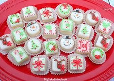 Learn to make the CUTEST Christmas Petit fours with ease in My Cake School's cake decorating video!
