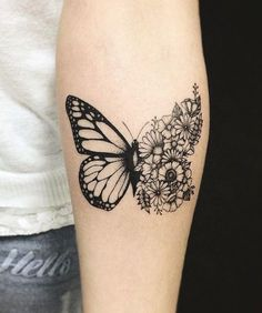 tattoo woman, unisex design tattoo, ink drawing half butterfly pattern and bouquet of flowers Tattoo http://tattooforideas.com/wp-content/uploads/2018/02/tatouage-avant-bras-femme-tatouage-a-design-unisex-dessin-en-encre-motif-demi.jpg