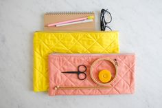 Quilted zipper pouches in completely happy colors!