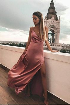 Long Prom Dresses Modest, 2019 Elegant Formal Dresses With Slit, A Line Pageant Dresses V Neck - Kleider -Mode/ Fashion Elegant Prom Dresses, A Line Prom Dresses, Prom Party Dresses, Pageant Dresses, Modest Dresses, Satin Dresses, Simple Dresses, Sexy Dresses, Evening Dresses