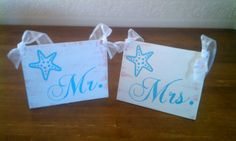 Beach Wedding Signs Turquoise & Coral Wedding Decorations with Starfish Mr. and Mrs. Wedding Signs Tropical Weddings, Hawaii Weddings