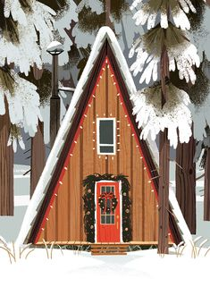 House In The Woods By Kim Smith - Page 25 of 31 - BathroomRemodel Illustration Noel, Winter Illustration, Christmas Illustration, Christmas Mood, Merry Little Christmas, Vintage Christmas, Cabin Christmas, Xmas, Winter Cabin
