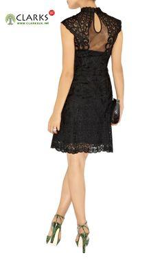 adfe7d1de306 Karen Millen Lace Embroidered Mesh Dress Black Daytime Dresses