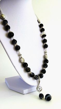 Agate Necklace Black Crackle Agate Necklace Earrings by GECHELINE