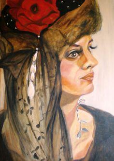 geschilderd hoedenportret Odette