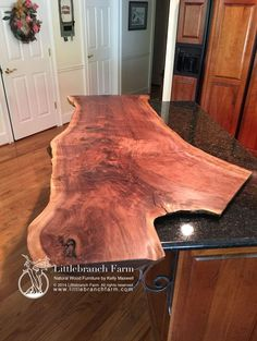 see the wrought iron support...wood countertop