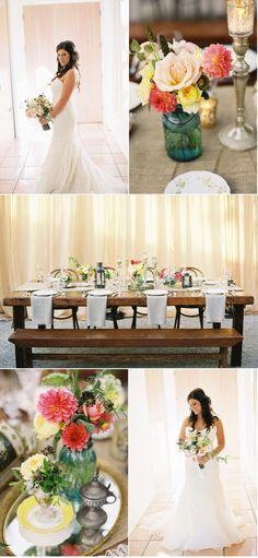 Montecito Wedding Vintage romantic  Magnolia Event Design  Linda Chaja Photography  Feasting Table  Bench  Mercury glass  bride  blue ball jar