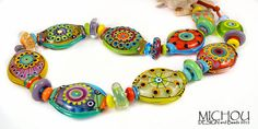 Fireworks...... Lampwork Set by Michou P. Anderson by michoudesign, $399.00