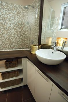 White Vanity With Espresso Top And White Sink