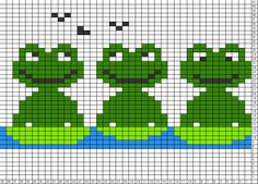 Tricksy Knitter Charts: frogs 3 by SM Cross Stitch Bookmarks, Cross Stitch Borders, Cross Stitch Baby, Cross Stitch Animals, Cross Stitch Charts, Cross Stitching, Cross Stitch Patterns, Fair Isle Knitting Patterns, Knitting Charts