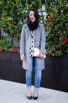 black + white polka dots / grey coat / rolled denim / bright lip