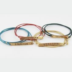 "These Bracelets are made with your color choice of 1mm thick leather, solid bronze, and a 24k plated gold clasp. You can choose up to 10 letters for the pendant. The length of the leather and pendant is approximately 20"", alowing the bracelet to wrap around the wrist 3 times. All of our pieces are lead, nickel, and aluminum free."