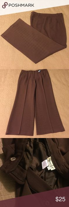 "Coldwater Creek Wide Leg Dress Pants Chocolate brown Coldwater Creek wide leg dress pants.  31"" inseam.  Zipper and 2 button close.  2 front pockets, 1 back pocket (still stitched).  75% polyester/20% rayon/5% spandex.  Freshly dry cleaned.  Excellent used condition. Coldwater Creek Pants Wide Leg"