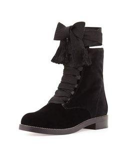 S0FTX Chloe Harper Lace-Up Velvet Ankle Boot, Black
