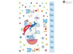 VINILO PARED PIRATA PIRULOS.  Vinilo para decorar la habitación del bebé de la colección Pirata de pirulos.  Medidas: 100 x 70.  Adhesivo a cualquier superficie, preferiblemente lisa.  No se recomienda colocar sobre superficies rugosas. El efecto puede no ser el deseado.  Plazo de entrega para vinilos: 10-15 días.