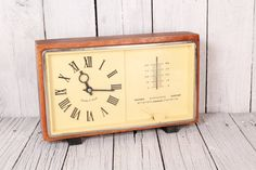 Vintage Majak Mayak Soviet USSR Russia clock Working desk table clock Made in USSR 70s clock 70s clock with barometer and thermometer