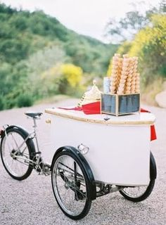 Dessert Bar Inspiration: vintage ice cream cart for dessert table alternative #vintage #icecream #desserts