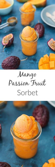 This Mango Passion Fruit Sorbet is tropical, tangy and light- the most refreshing summer treat that couldn't be easier to prepare!