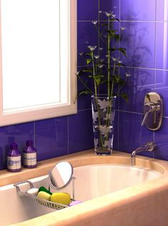 Gray tiles purple accents and blue accents on pinterest for Blue and purple bathroom ideas