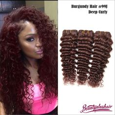 3Pcs/4Pcs 8A Red Brazilian Virgin Hair Weave Curly 99J Burgundy Hair Extension #BeautyPlusHair #100HumanHairExtension