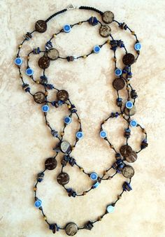 Wooden Beads Necklace Long Necklace Rustic Boho by FrancaandNen