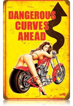 Vintage and Retro Wall Decor - JackandFriends.com - Vintage Dangerous Curves  - Pin-Up Girl Metal Sign, $39.97 (http://www.jackandfriends.com/vintage-dangerous-curves-metal-sign/)