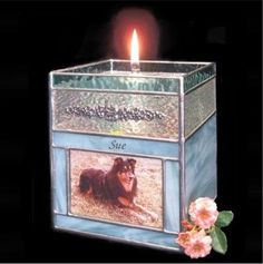 Stained Glass Oil Candle Photo Pet Cremation Urn