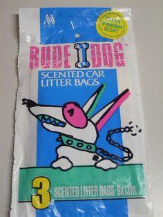 Vintage 80s Rude Dog  Scented Car Litter Trash Bags Plastic NIP Novelty 1989