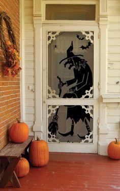 Black Witch Door/Window Panel, set of 2