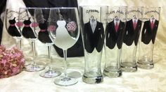 8 Bridal Party Glasses. Champagne Flutes, Pilsners, Mugs, or Wine Glasses. Choose any combination