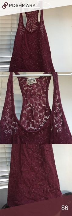 Burgundy lace tank Lace•Burgundy•See through Tilly's Tops Tank Tops