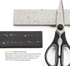 Quartz Stone Magnetic Knife Bar Keep kitchen knives, scissors or tools close at hand with this elegant black or white quartz magnetic knife bar.