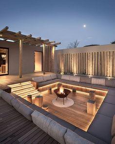 Villa Design, House Design, Loft Design, Design Design, Design Ideas, Backyard Seating, Backyard Patio Designs, Fire Pit Backyard, Small Backyard Patio