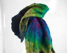 Felted Scarf Nunofelt scarf Nunofelted silk scarf