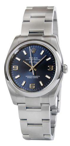 Rolex Airking Blue Arabic Dial Domed Bezel Mens Watch 114200BLASO