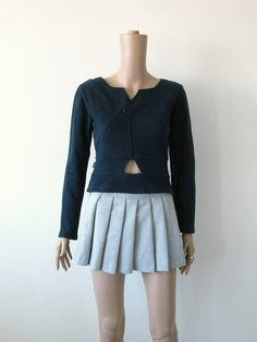 Belly Cut Out Crop Top Sweatshirt Navy Blue by icouldbegoodforyou, $35.00