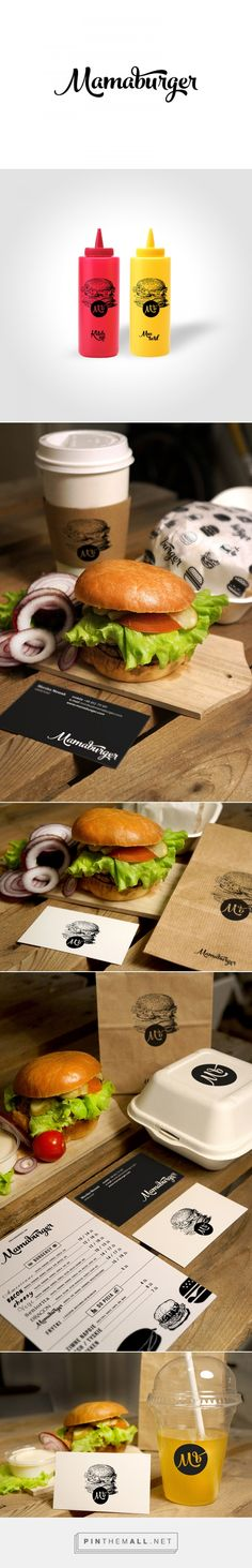 Mamaburger Restaurant on Behance by  Sebastian Bednarek Warsaw, Poland curated by Packaging Diva PD. Newly emerging restaurant that will serve delicious burgers, fries, drinks and cocktails. Goal for the brand identity was to create clean, simple and tasty design for the logo, stationery, packaging and other materials.