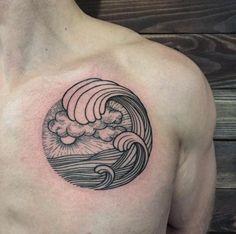 Linework Wave Tattoo by Sasha Masiuk