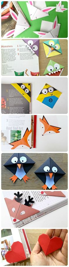 We adore making Bookmarks and these corner bookmarks are GREAT fun to make and give. So many different designs for all seasons - with more to come (check back regularly! From Bunny Bookmarks for Easter, to Minion Bookmarks for Minion fans. Bookmark Craft, Diy Bookmarks, Corner Bookmarks, Bookmark Ideas, Bookmarks For Kids, Bookmark Making, Origami Bookmark Corner, Creative Bookmarks, How To Make Bookmarks