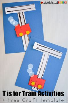 Letter of the Week A-Z Series: T is for Train Activities and Crafts for Kids: Simple hands on learning activities you can do with a box of trains (letter craft, letter formation, fine motor skills, sequencing, and sorting) Train Crafts Preschool, Trains Preschool, Preschool Letters, Preschool Activities, Abc Crafts, Preschool Projects, Children Activities, Preschool Ideas, Paper Crafts