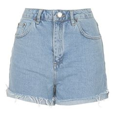 Topshop 'Girlfriend' Denim Shorts ($52) ❤ liked on Polyvore featuring shorts, bottoms, zipper shorts, jean shorts, topshop shorts, light blue denim shorts and relaxed fit shorts