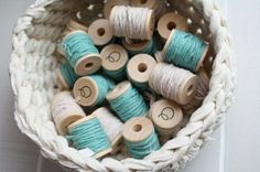 Spools of turquoise thread, begging for crafts projects