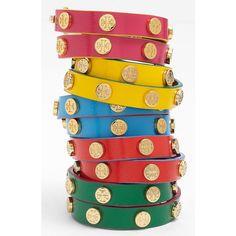 Tory Burch Logo Double Wrap Bracelet featuring polyvore, women's fashion, jewelry, bracelets, wrap bracelet, tory burch bangle, logo jewelry, tory burch and poppy jewelry