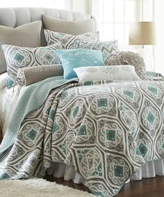 Look what I found on #zulily! Gray & Teal Ikat Quilt Set #zulilyfinds